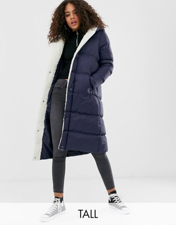 ブレイブソウル レディース コート アウター Brave Soul Tall hoplong padded coat with fleece lining in navy Navy