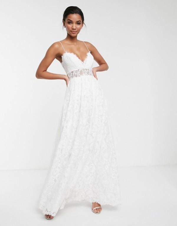 エイソス レディース ワンピース トップス ASOS EDITION lace cami wedding dress with full skirt Ivory