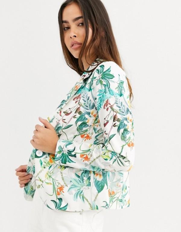 ビーヤング レディース ジャケット・ブルゾン アウター b.Young floral blazer Off white combi