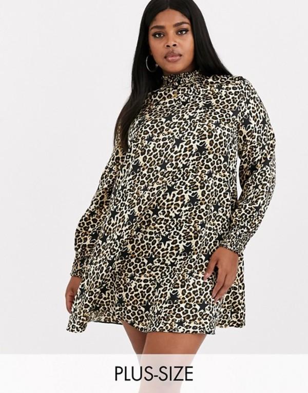 シンプリー ビー レディース ワンピース トップス Simply Be high neck swing dress in leopard and star print Multi