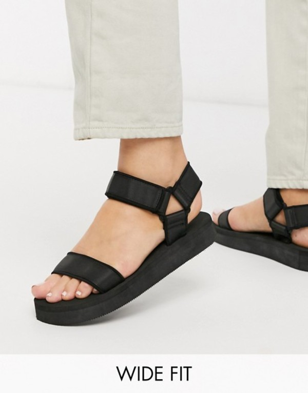 エイソス レディース サンダル シューズ ASOS DESIGN Wide Fit Floodlight sporty sandals in black Black