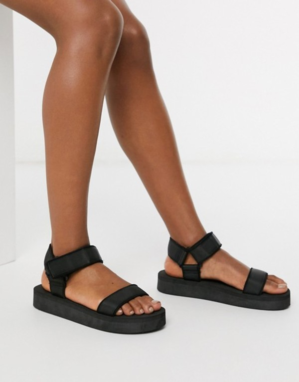 エイソス レディース サンダル シューズ ASOS DESIGN Floodlight sporty sandals in black Black