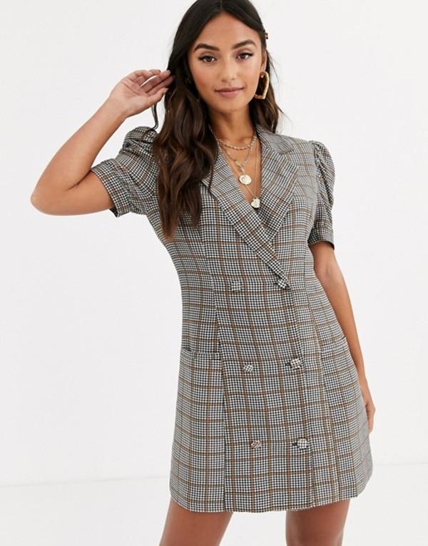 インザスタイル レディース ワンピース トップス In The Style short sleeve check blazer dress Multi