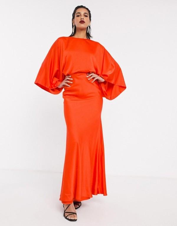 エイソス レディース ワンピース トップス ASOS EDITION kimono sleeve maxi dress in satin Tomato red
