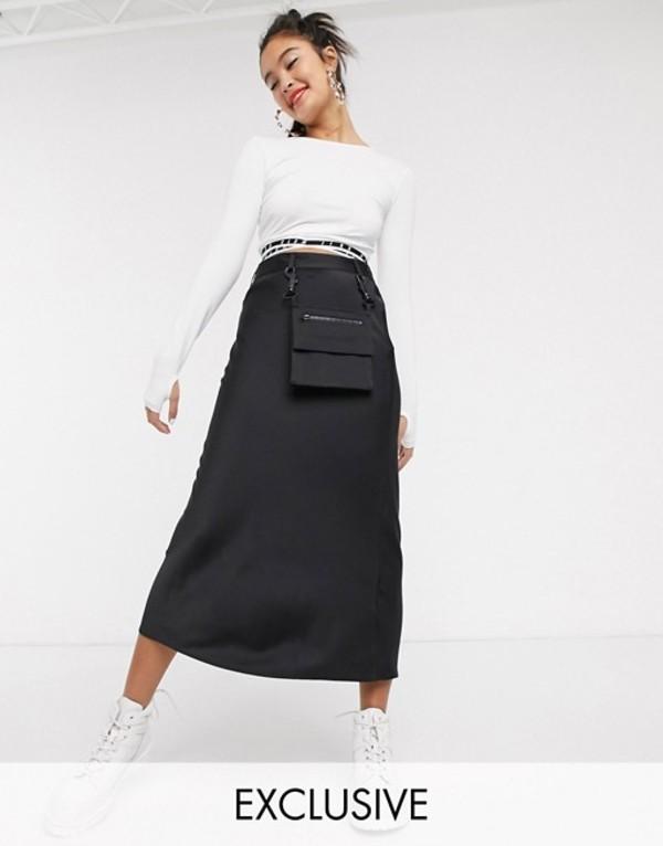 コルージョン レディース スカート ボトムス COLLUSION satin midi skirt with detachable bag Black