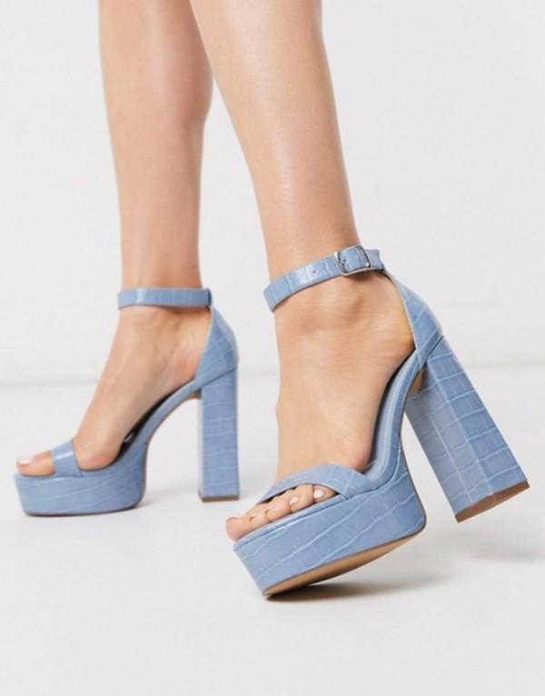 エイソス レディース サンダル シューズ ASOS DESIGN Noon platform block heeled sandals in blue Blue croc