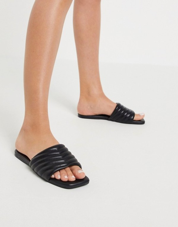 エイソス レディース サンダル シューズ ASOS DESIGN Fooled quilted mule sandals in black Black
