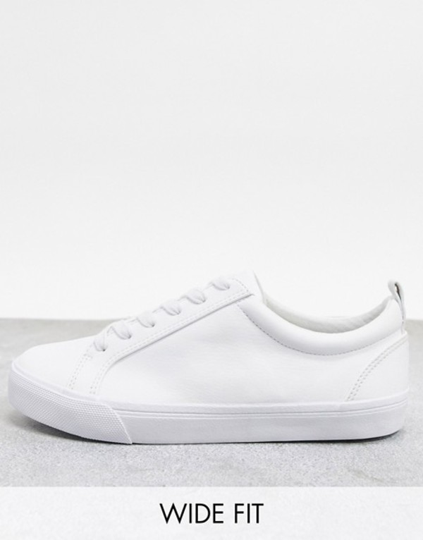 エイソス レディース スニーカー シューズ ASOS DESIGN Wide Fit Dunn lace up sneakers in white White