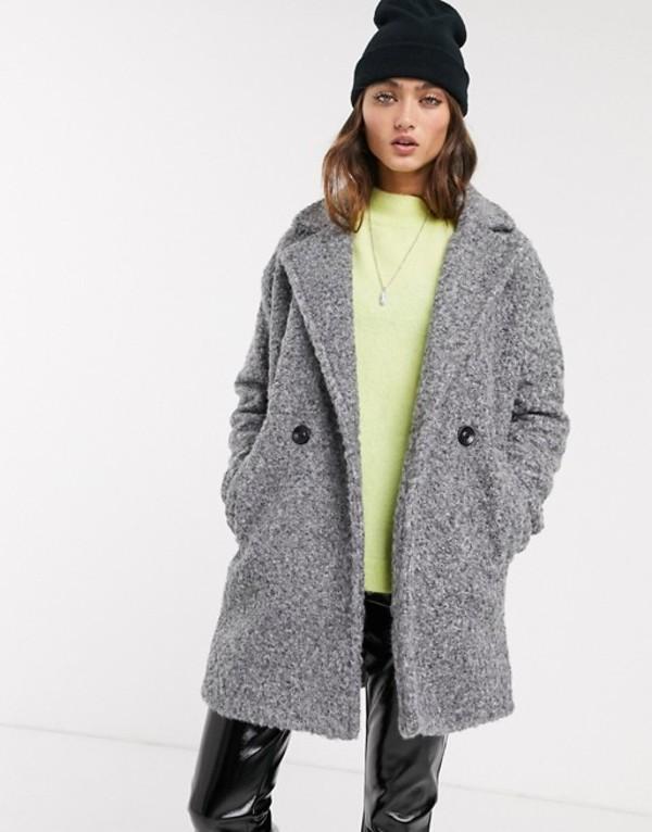 ベルシュカ レディース コート アウター Bershka boucle coat in gray Gray