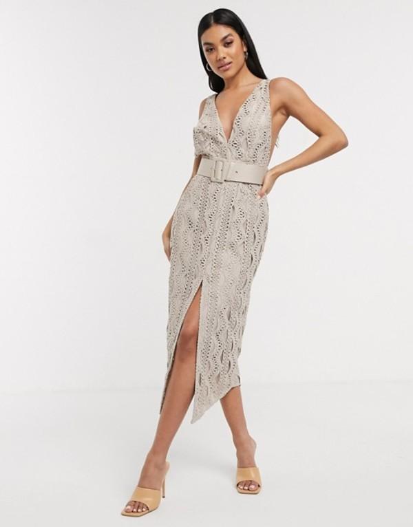 エイソス レディース ワンピース トップス ASOS DESIGN plunge lace pencil dress with belt in gray Gray