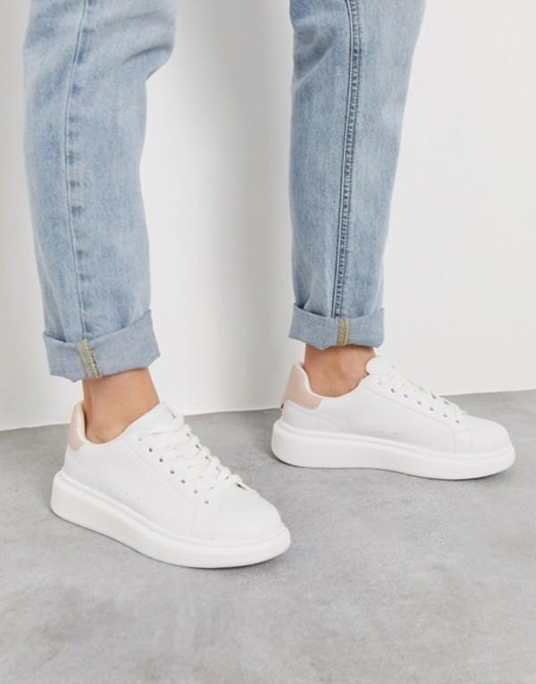 プルアンドベアー レディース スニーカー シューズ Pull&Bear flatform sneakers with nude back tab in white White