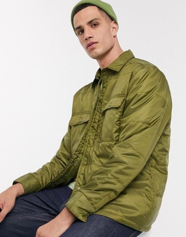 ウィークデイ メンズ ジャケット・ブルゾン アウター Weekday Jamie padded overshirt jacket in khaki Khaki