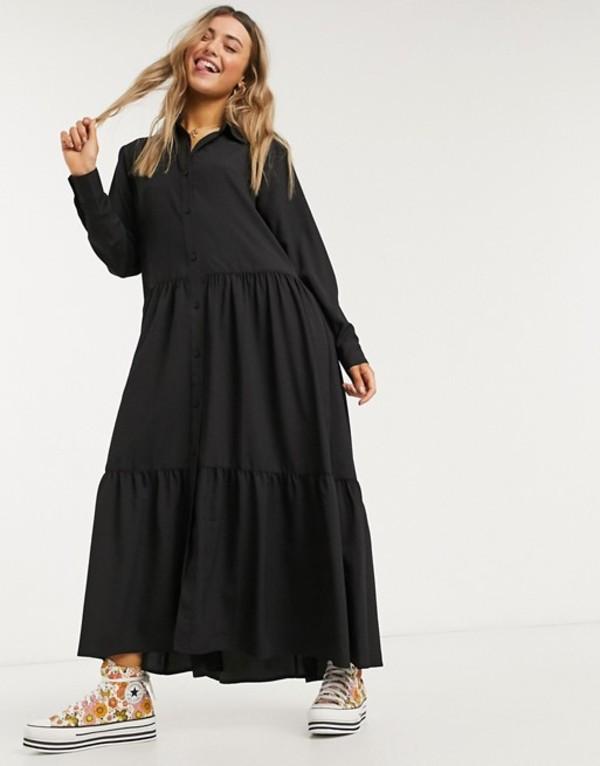 モンキ レディース ワンピース トップス Monki Collina shirt midi dress in black Black