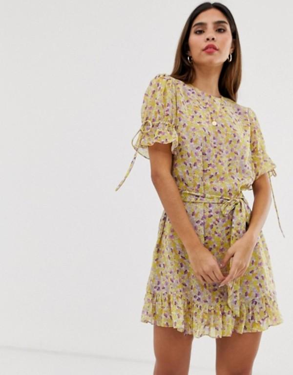 イーストオーダー レディース ワンピース トップス The East Order arlo floral mini dress with belt Purple rain