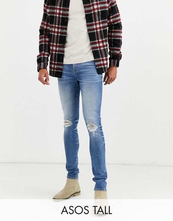 エイソス メンズ デニムパンツ ボトムス ASOS DESIGN Tall 12.5oz super skinny jeans in mid wash blue with busted knees Mid wash blue
