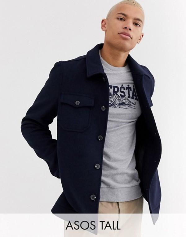 エイソス メンズ ジャケット・ブルゾン アウター ASOS DESIGN Tall wool mix utility bomber jacket in navy Navy