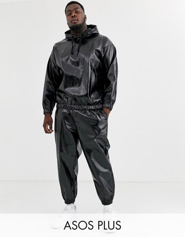 エイソス メンズ カジュアルパンツ ボトムス ASOS DESIGN two-piece Plus tapered sweatpants in leather look fabric in black Black