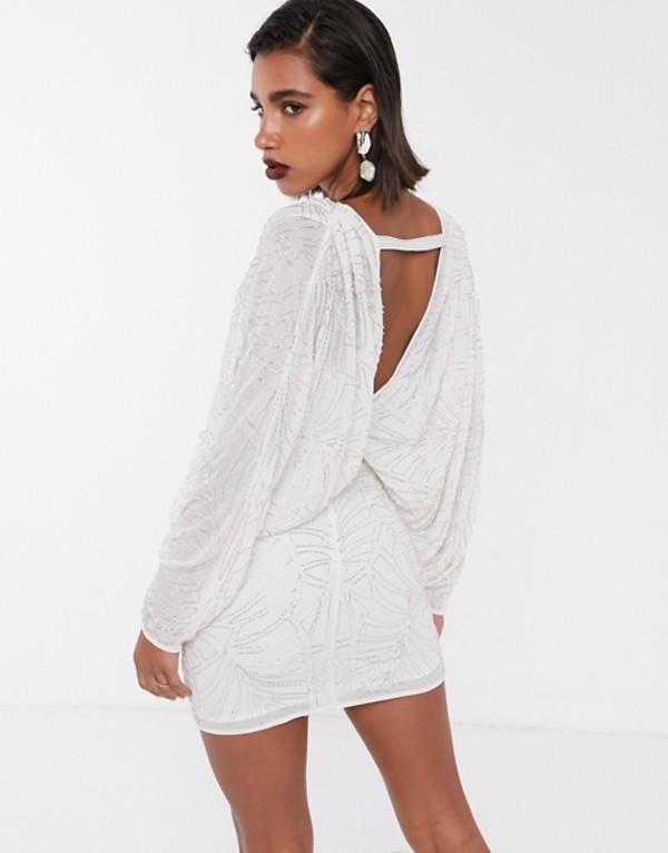 エイソス レディース ワンピース トップス ASOS EDITION batwing leaf embellished mini dress with open back White