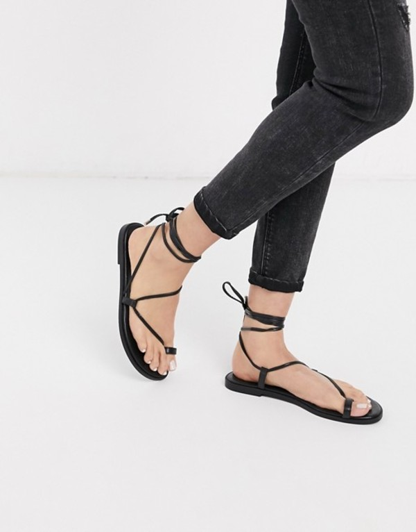 エイソス レディース サンダル シューズ ASOS DESIGN Forest toe loop minimal sandal in black Black