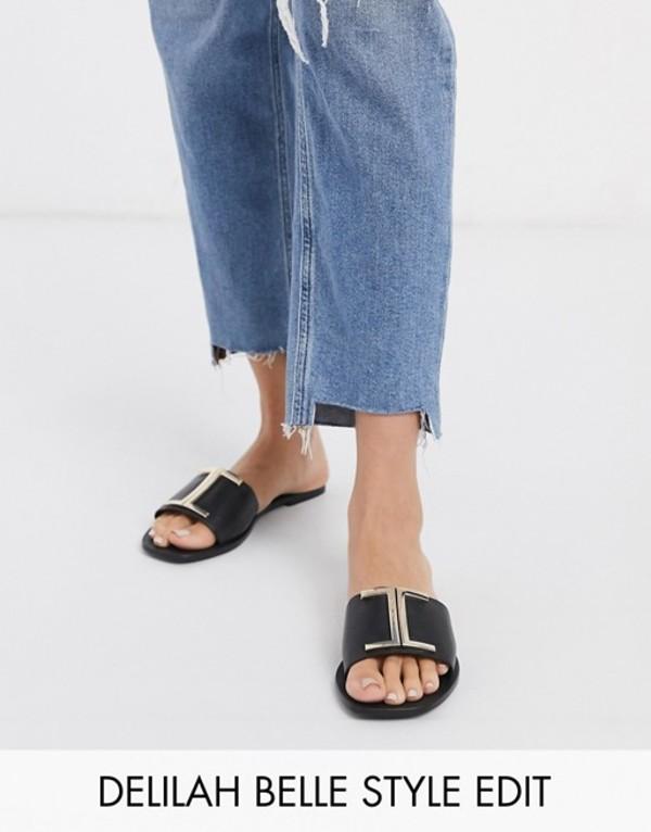 エイソス レディース サンダル シューズ ASOS DESIGN Factor leather flat sandals in black Black