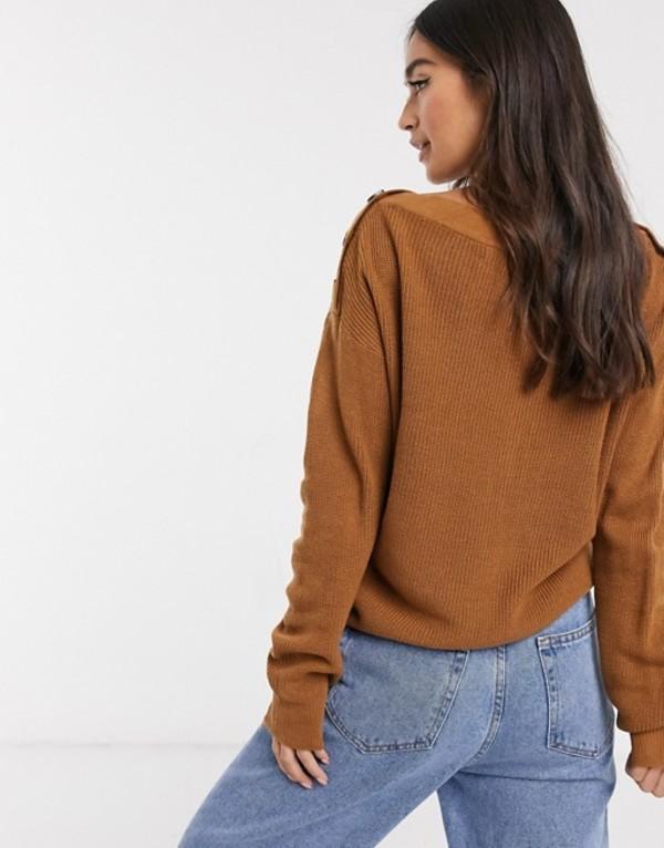 ブレーブソウル レディース ニット・セーター アウター Brave Soul calisco sweater with button shoulder Tanyv7Y6gIbfm