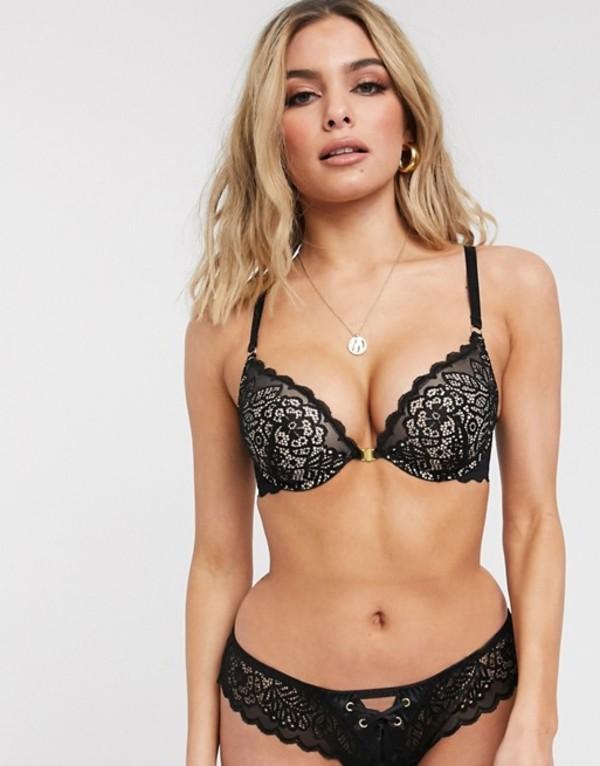 エイソス レディース ブラジャー アンダーウェア ASOS DESIGN Robyn lace padded underwire bra with front fastening Black/ beige