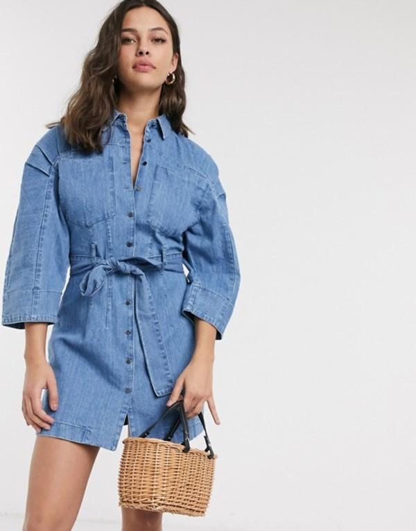 エイソス レディース ワンピース トップス ASOS DESIGN soft denim mini shirt dress in midwash blue Midwash blue