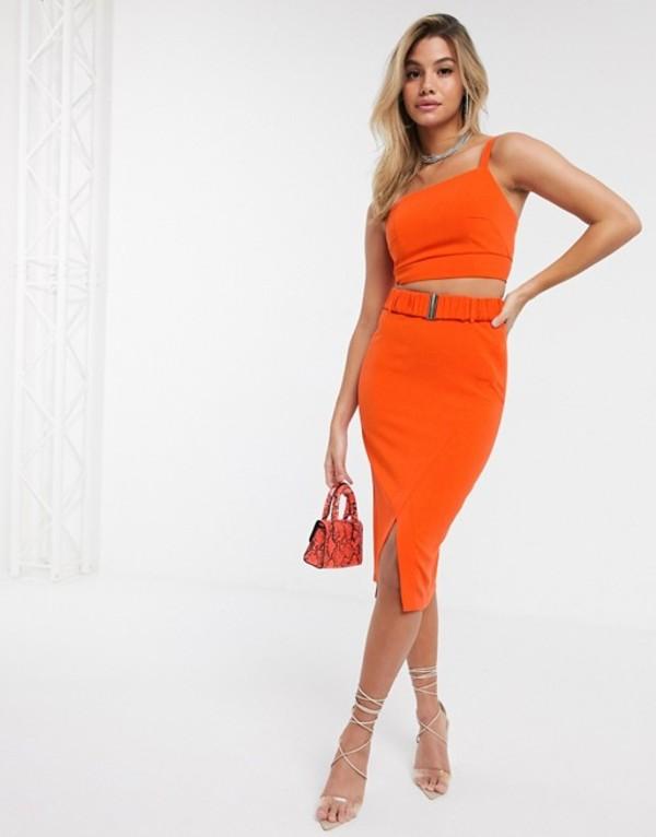 フォース&レックレス レディース スカート ボトムス 4th + Reckless pencil skirt with belt detail in orange Orange