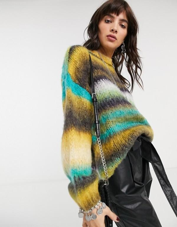 ベルシュカ レディース ニット・セーター アウター Bershka striped soft touch oversized sweater in green Green
