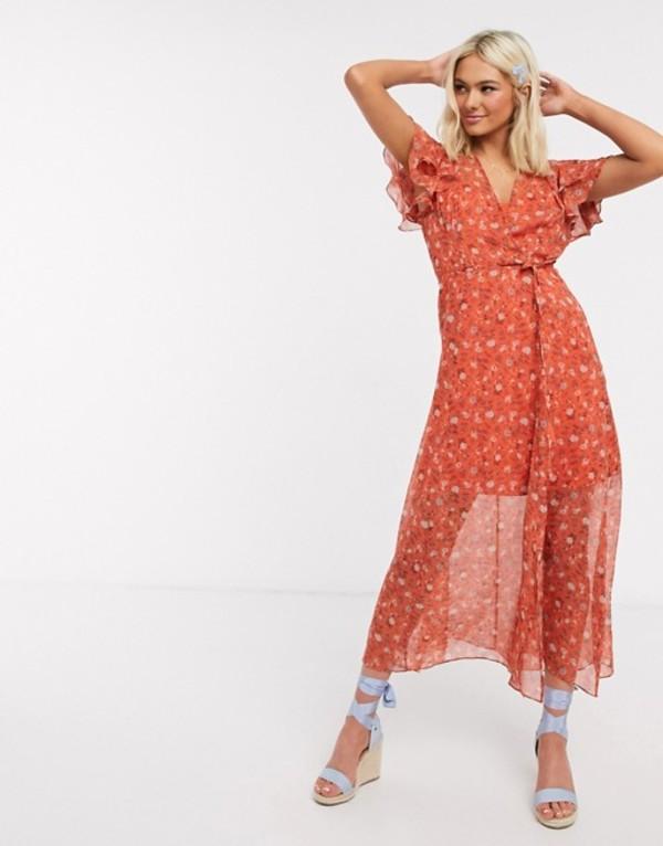 フレンチコネクション レディース ワンピース トップス French Connection floral wrap maxi dress Pumpkin multi