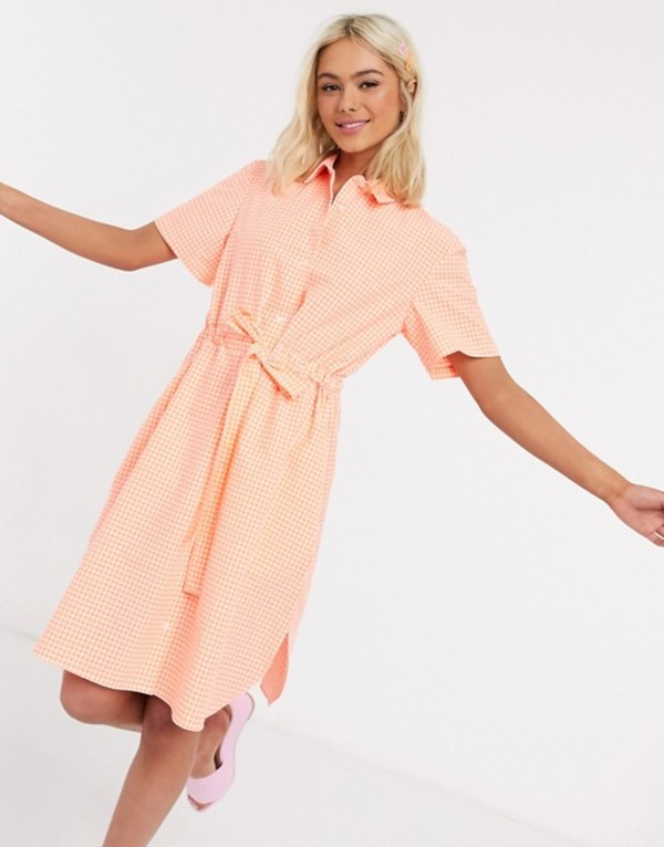 フレンチコネクション レディース ワンピース トップス French Connection gingham check belted mini shirt dress recycled Summer orange