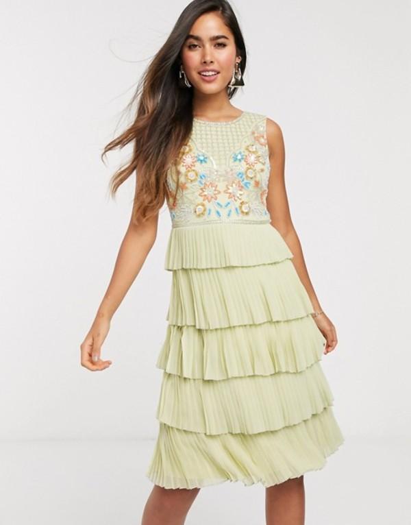 フロック レディース ワンピース トップス Frock & Frill tiered embellished mini dress in green Lettuce green