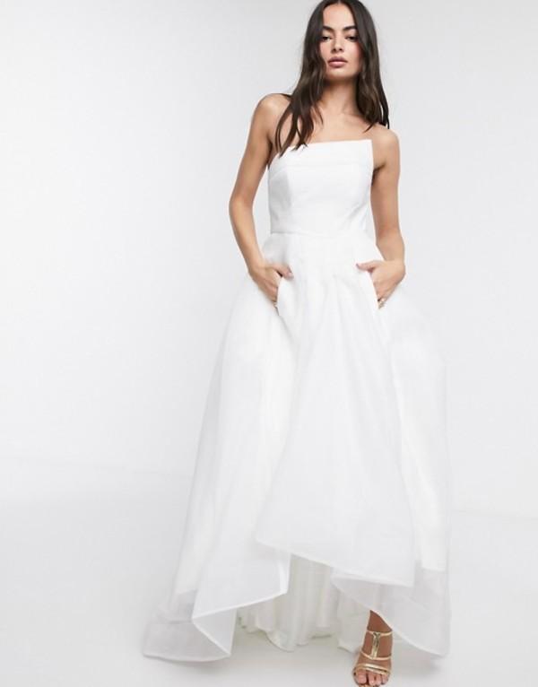 バリアーノ レディース ワンピース トップス Bariano full maxi dress with organza bust detail in white White