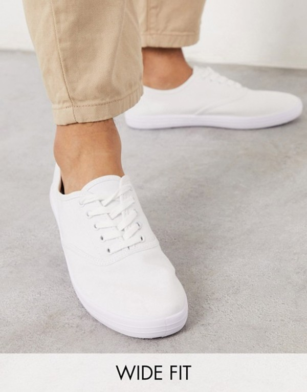 エイソス メンズ スニーカー シューズ ASOS DESIGN Wide Fit oxford plimsolls in white canvas White