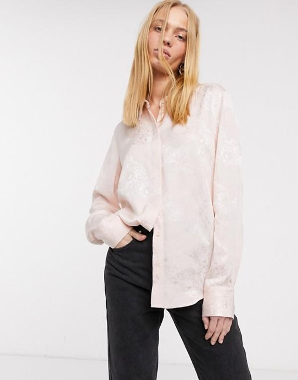 アンドアザーストーリーズ レディース シャツ トップス & Other Stories cat face jacquard shirt in pink Soft pink