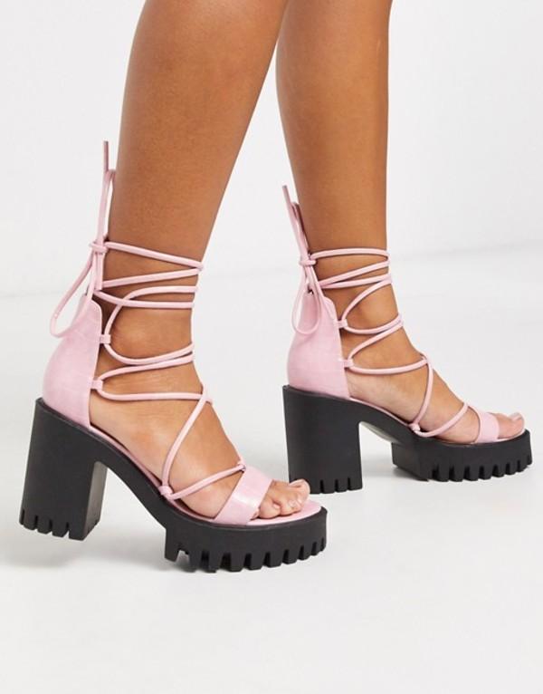 パブリックデザイア レディース サンダル シューズ Public Desire Roxanne ankle tie cleated platform block heel sandal in pink Pink