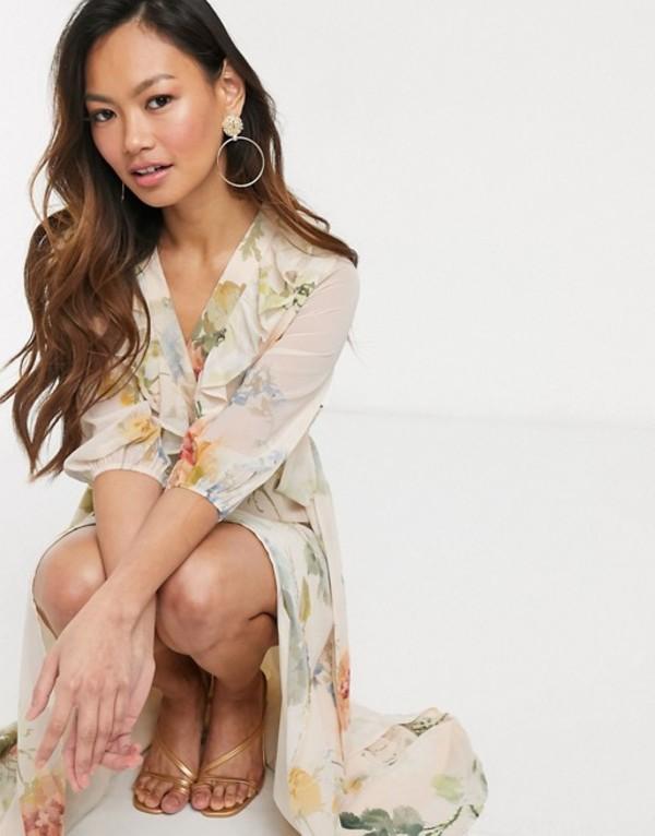 ホープ&アイビー レディース ワンピース トップス Hope & Ivy plunge midaxi tea dress in meadow floral Multi