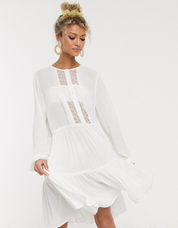 ピーシーズ レディース ワンピース トップス Pieces mini dress with lace detail in white Bright white