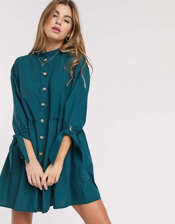 エイソス レディース ワンピース トップス ASOS DESIGN grandad collar button through mini smock dress with tie sleeve in forest green Forest green