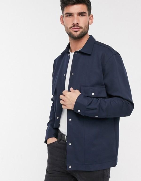 セレクテッドオム メンズ ジャケット・ブルゾン アウター Selected Homme twill smart shirt jacket in navy Sky captainYf6vmIb7gy