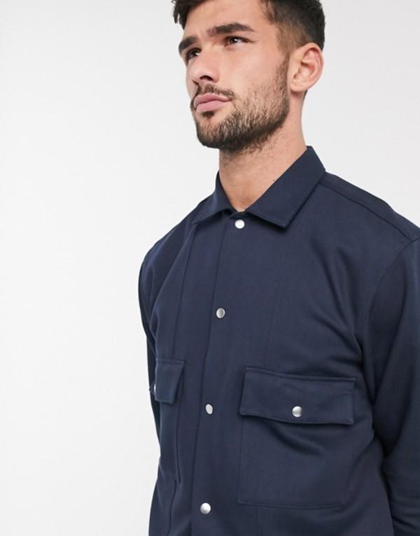 セレクテッドオム メンズ ジャケット・ブルゾン アウター Selected Homme twill smart shirt jacket in navy Sky captainT3JFcK1l