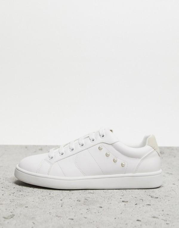 ストラディバリウス レディース スニーカー シューズ Stradivarius lace front sneakers in white White