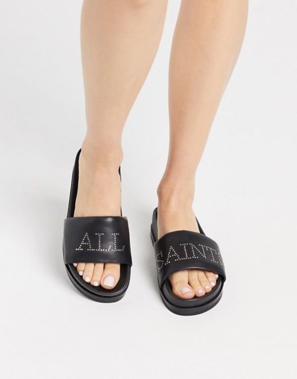オールセインツ レディース サンダル シューズ AllSaints sophie studded leather sliders in black Black