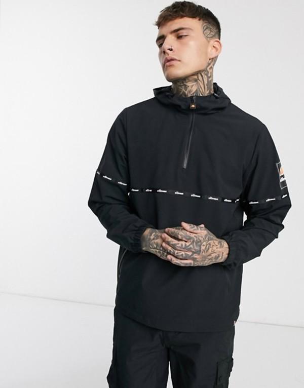 エレッセ メンズ ジャケット・ブルゾン アウター ellesse Orba half-zip jacket with tape detail in black Black