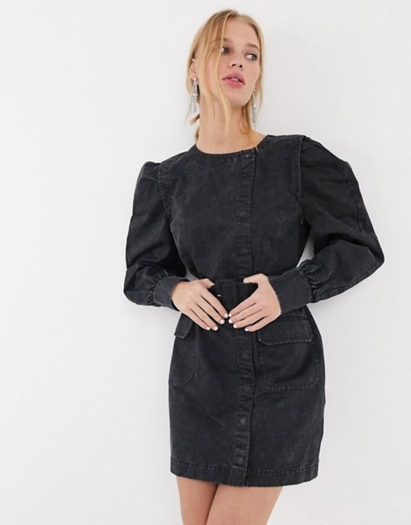 アンドアザーストーリーズ レディース ワンピース トップス & Other Stories puff sleeve button-detail denim mini dress in washed black Black