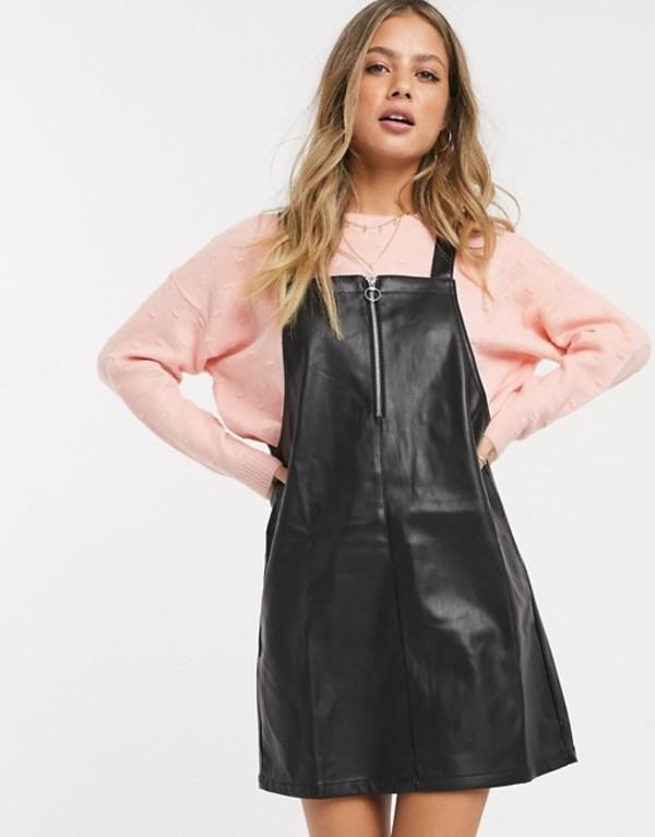 ミスセルフフリッジ レディース スカート ボトムス Miss Selfridge Faux leather pinafore dress in black Black