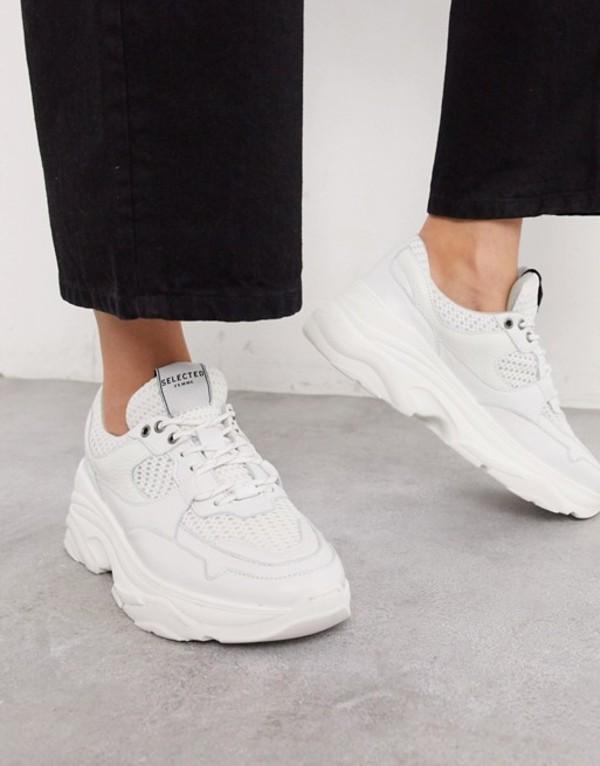 セレクティッド レディース スニーカー シューズ Selected Femme chunky leather sneakers with sports mesh in white White