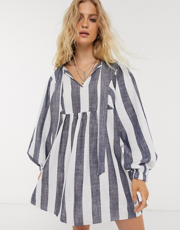オブジェクト レディース ワンピース トップス Object oversized smock dress with tie detail in stripe Multi