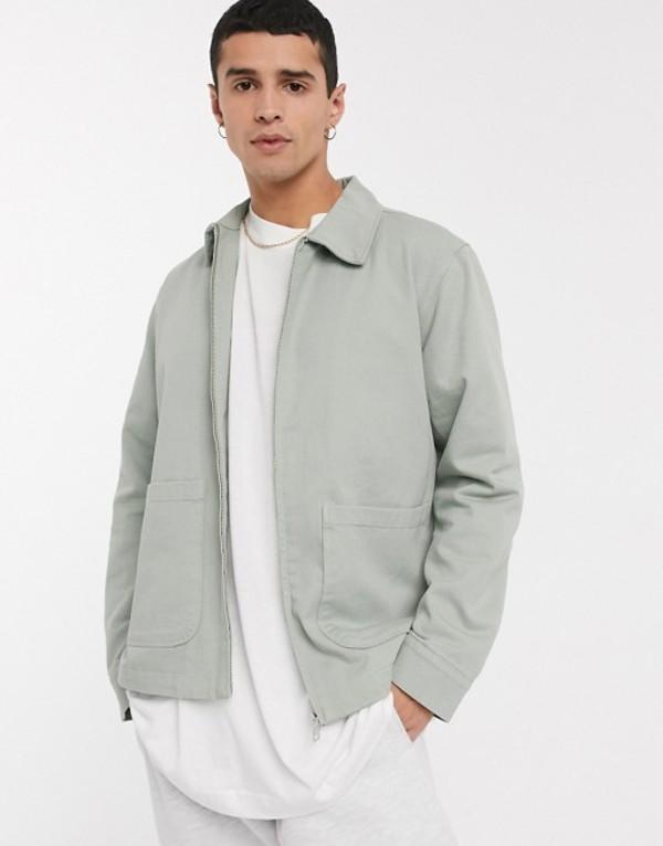ウィークデイ メンズ ジャケット・ブルゾン アウター Weekday Camp washed jacket in beige Beige/mint