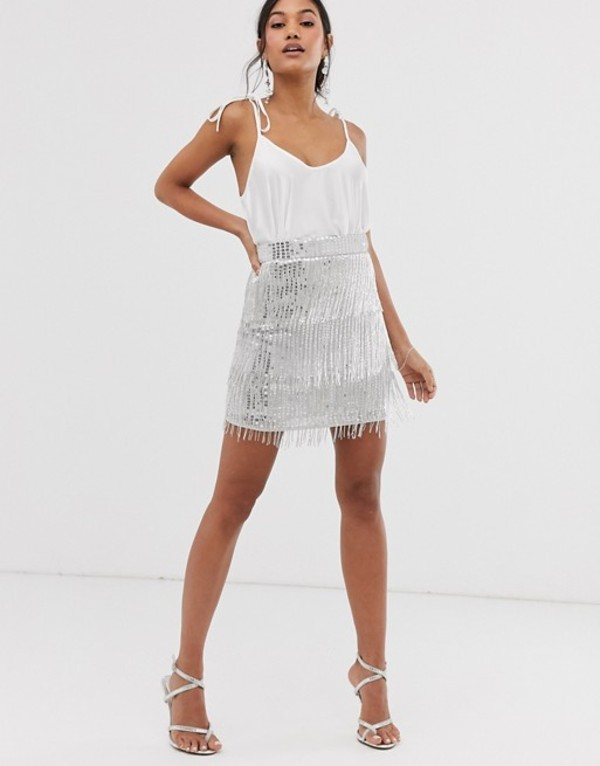 エイソス レディース スカート ボトムス ASOS EDITION sequin fringe mini skirt Silver